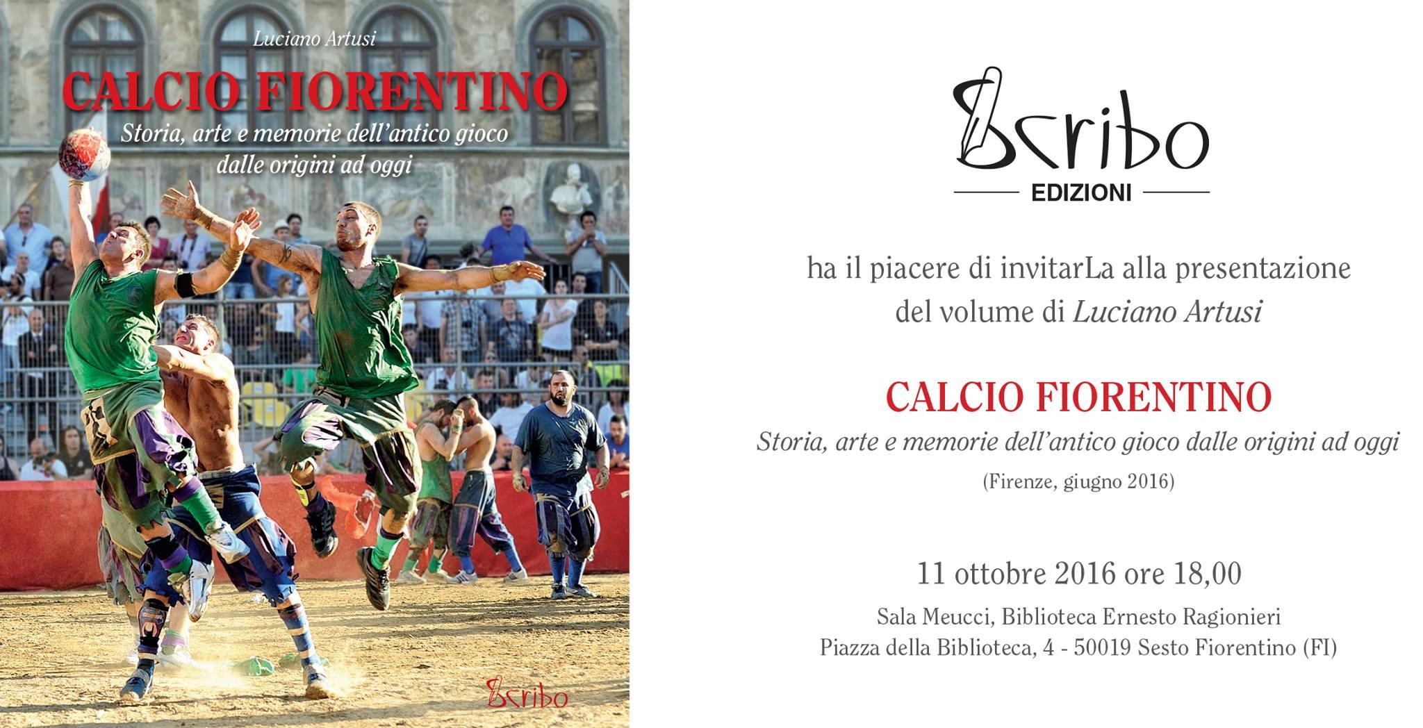 Locandina della presentazione del libro 'Calcio Fiorentino' di Luciano Artusi.
