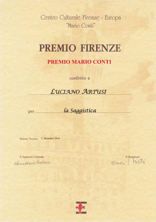 Premio Conti conferito a Luciano Artusi