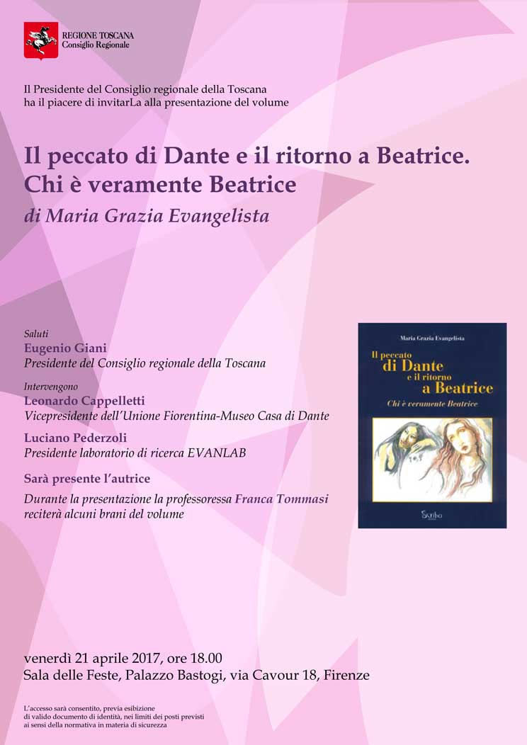 Locandina della presentazione de 'Il peccato di Dante e il ritorno a Beatrice'
