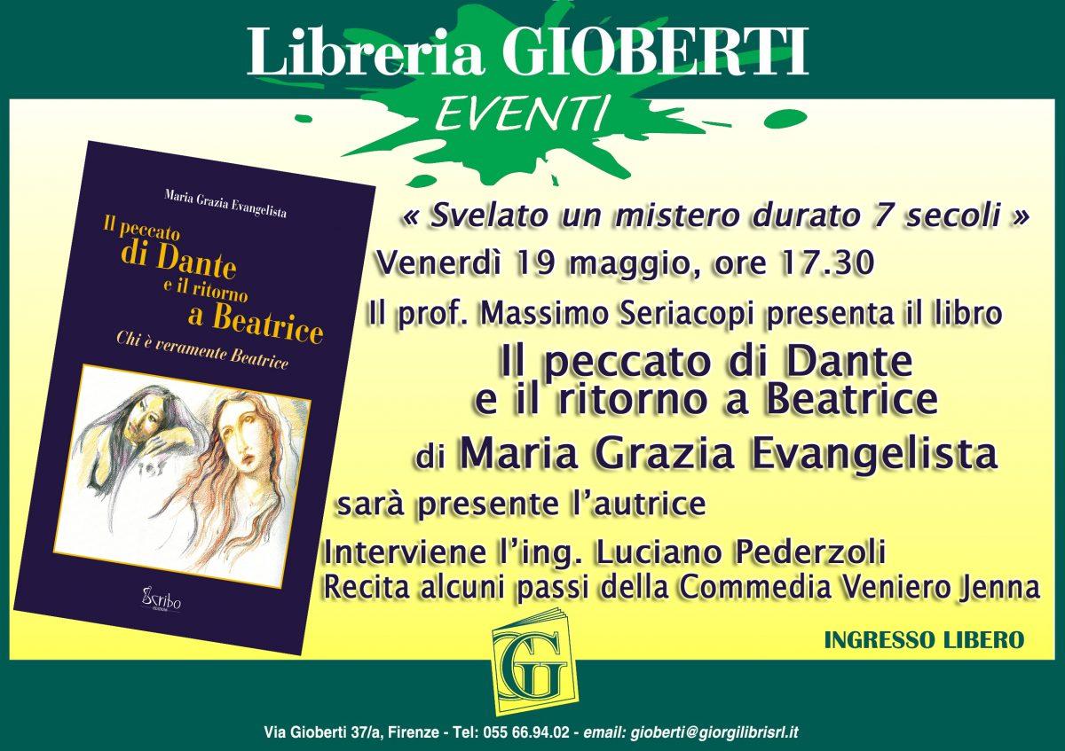 """Locandina - Presentazione """"Il peccato di Dante e il ritorno a Beatrice""""."""