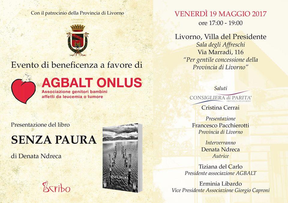 Locandina - presentazione di 'Senza Paura' presso la Villa del Presidente a Livorno.
